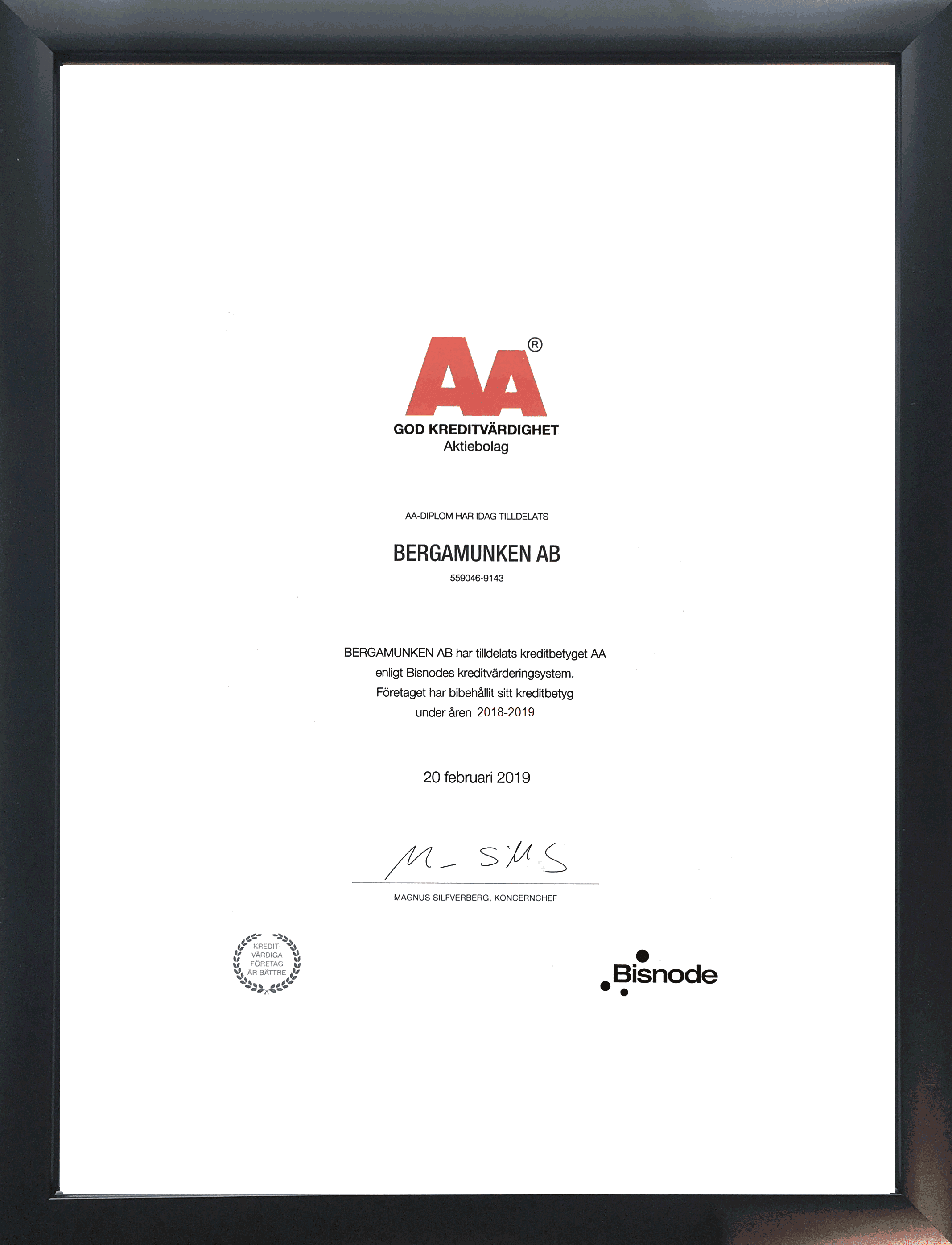 AA rating 2019 - Bergamunken AB