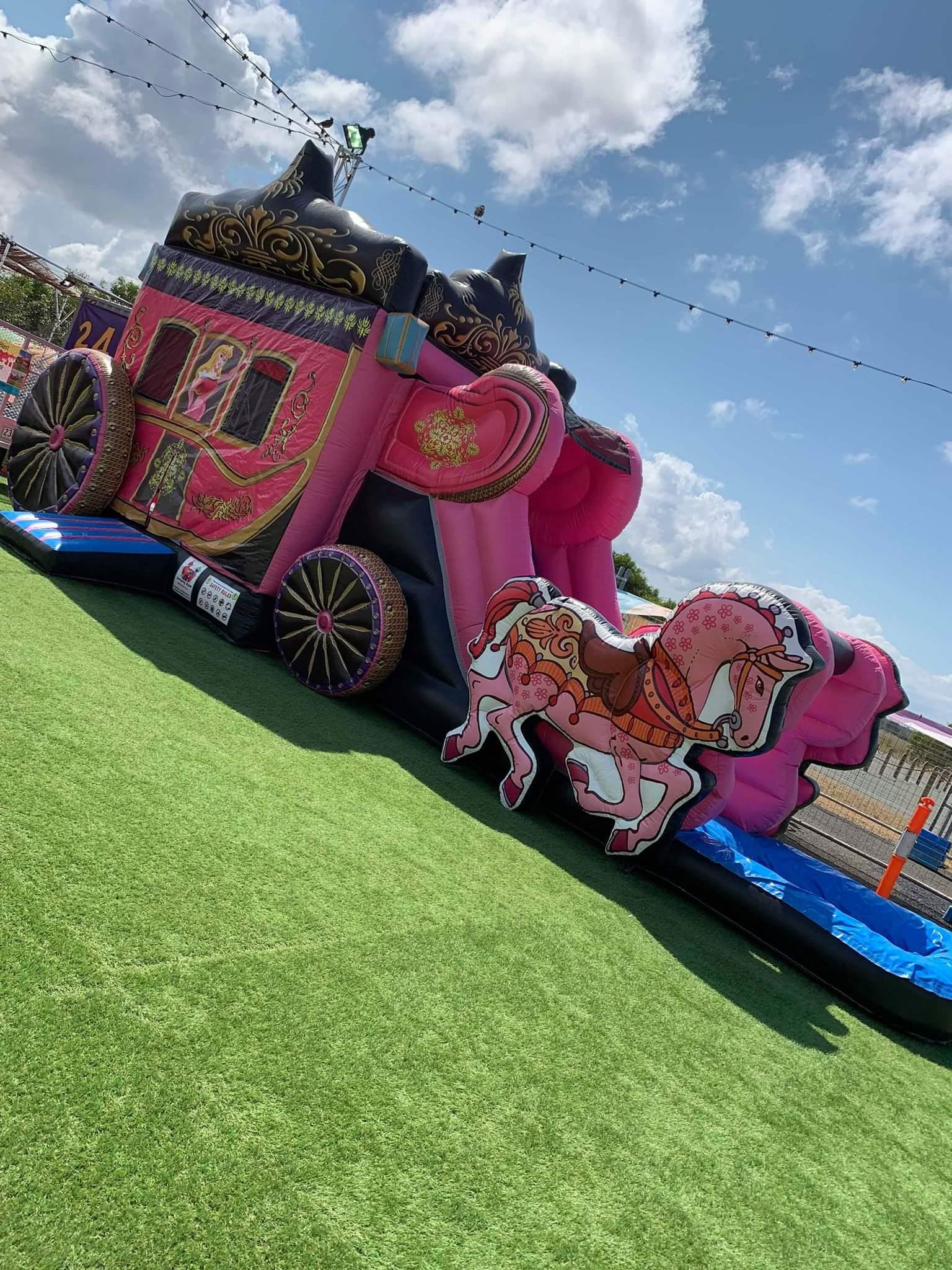 Hoppborg tornrosa vagn prinsessa