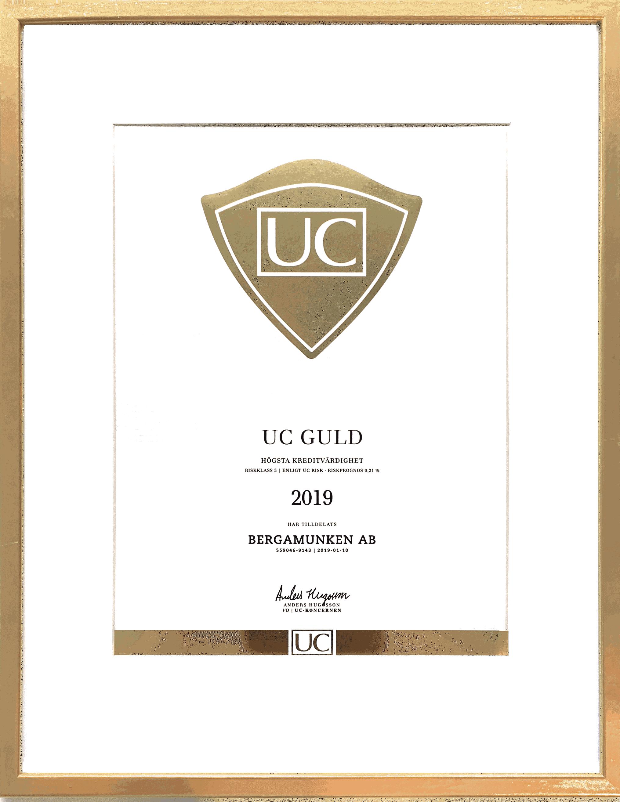 UC Guld kreditbetyg 2019 - Bergamunken AB